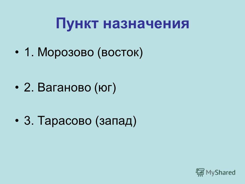 1. Морозово (восток) 2. Ваганово (юг) 3. Тарасово (запад)