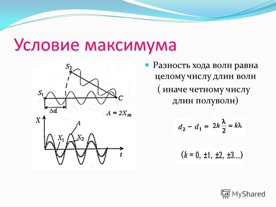 Условие максимума Разность хода волн равна целому числу длин волн ( иначе четному числу длин полуволн)