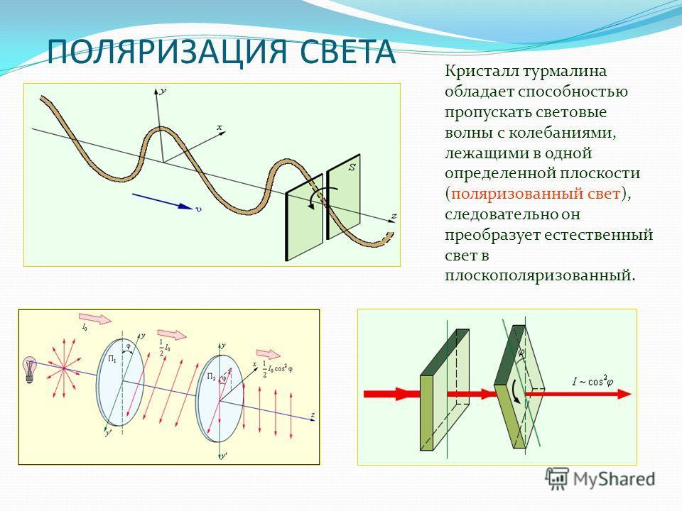 ПОЛЯРИЗАЦИЯ СВЕТА Кристалл турмалина обладает способностью пропускать световые волны с колебаниями, лежащими в одной определенной плоскости (поляризованный свет), следовательно он преобразует естественный свет в плоскополяризованный.