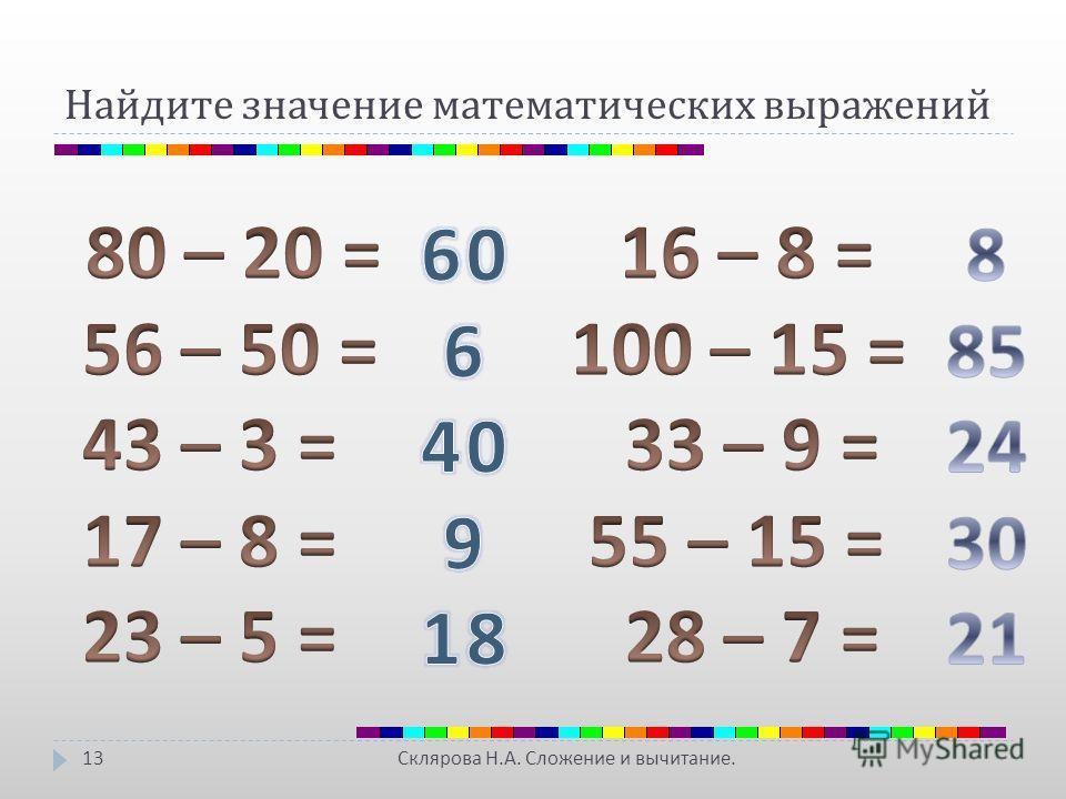 Найдите значение математических выражений Склярова Н. А. Сложение и вычитание. 13