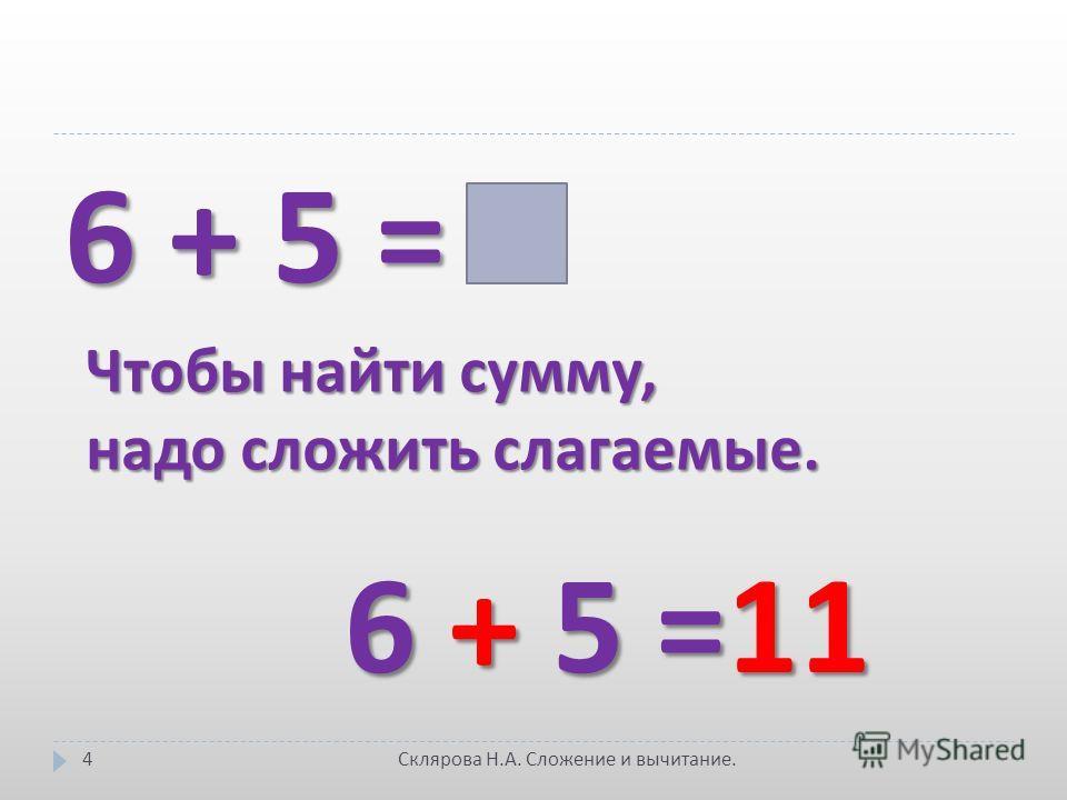 6 + 5 = Чтобы найти сумму, надо сложить слагаемые. 6 + 5 =11 4 Склярова Н. А. Сложение и вычитание.