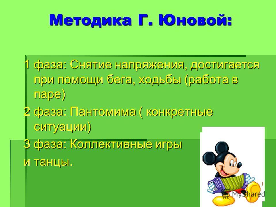 Методика Г. Юновой: 1 фаза: Снятие напряжения, достигается при помощи бега, ходьбы (работа в паре) 2 фаза: Пантомима ( конкретные ситуации) 3 фаза: Коллективные игры и танцы.