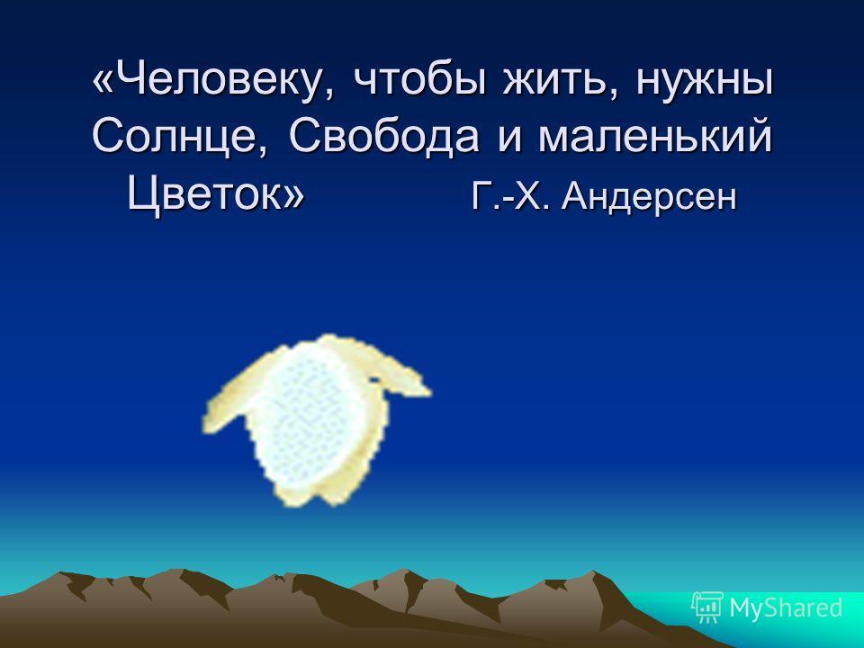 «Человеку, чтобы жить, нужны Солнце, Свобода и маленький Цветок» Г.-Х. Андерсен
