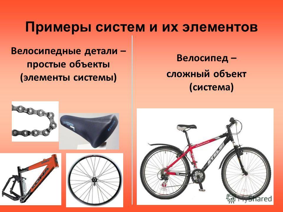 Примеры систем и их элементов Велосипед – сложный объект (система) Велосипедные детали – простые объекты (элементы системы)