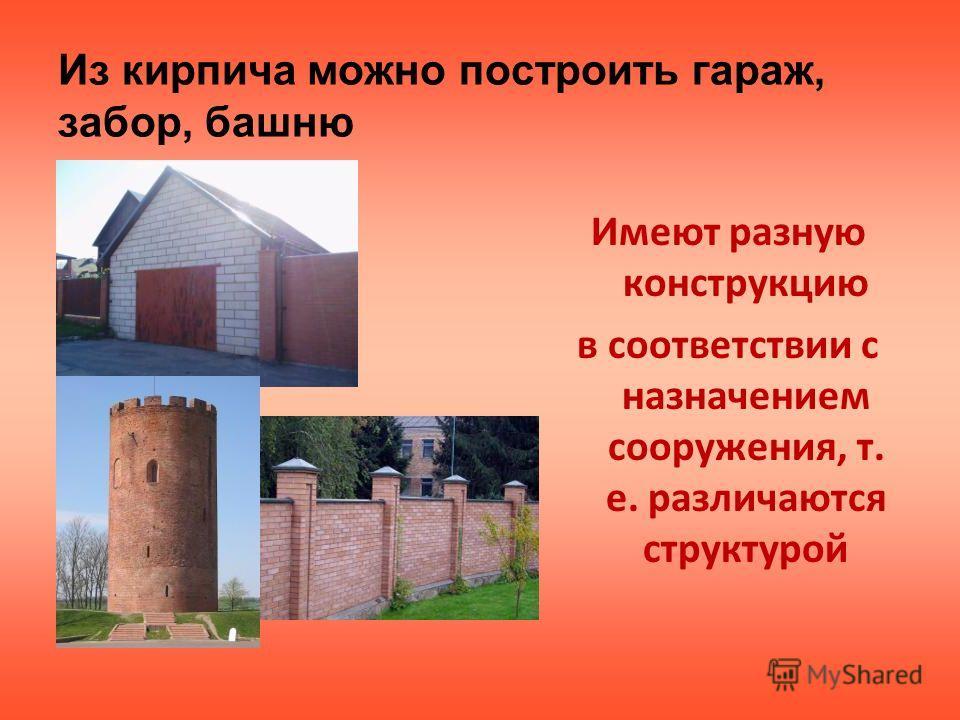 Из кирпича можно построить гараж, забор, башню Имеют разную конструкцию в соответствии с назначением сооружения, т. е. различаются структурой