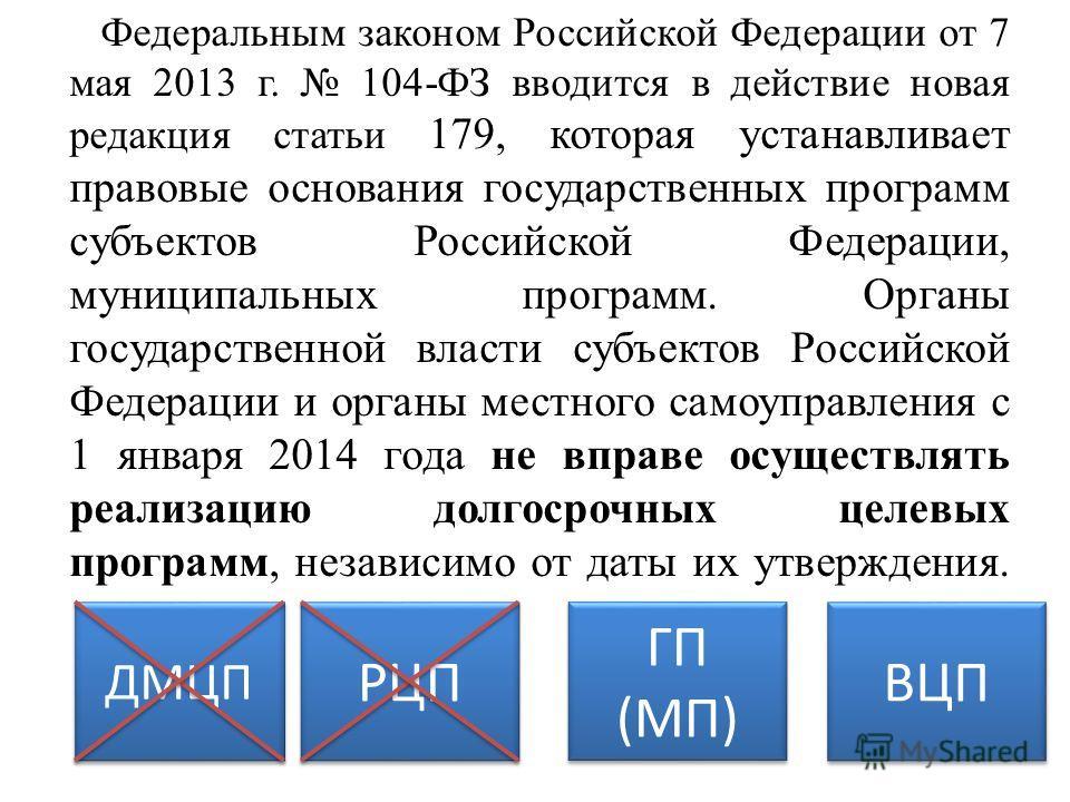 Федеральным законом Российской Федерации от 7 мая 2013 г. 104-ФЗ вводится в действие новая редакция статьи 179, которая устанавливает правовые основания государственных программ субъектов Российской Федерации, муниципальных программ. Органы государст