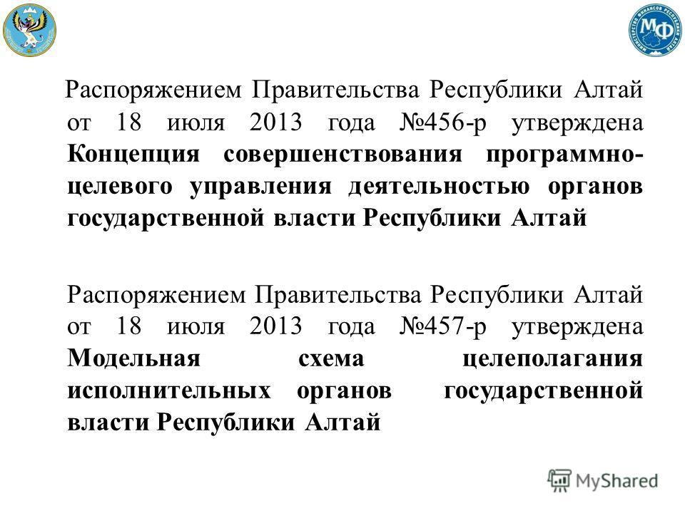 Распоряжением Правительства Республики Алтай от 18 июля 2013 года 456-р утверждена Концепция совершенствования программно- целевого управления деятельностью органов государственной власти Республики Алтай Распоряжением Правительства Республики Алтай