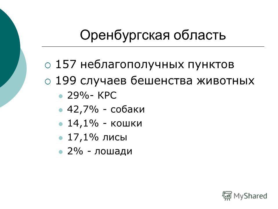 Оренбургская область 157 неблагополучных пунктов 199 случаев бешенства животных 29%- КРС 42,7% - собаки 14,1% - кошки 17,1% лисы 2% - лошади