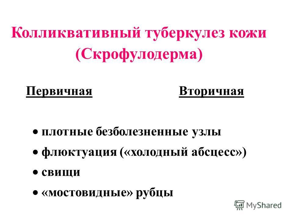 Колликвативный туберкулез кожи (Скрофулодерма) ПервичнаяВторичная плотные безболезненные узлы флюктуация («холодный абсцесс») свищи «мостовидные» рубцы