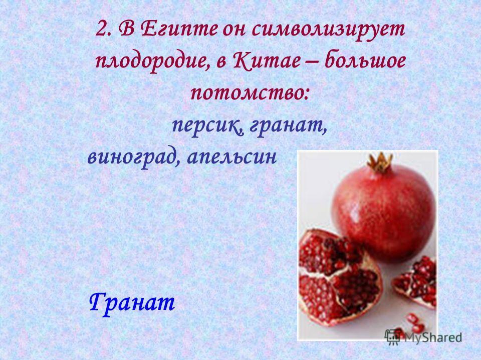 2. В Египте он символизирует плодородие, в Китае – большое потомство: персик, гранат, виноград, апельсин Гранат