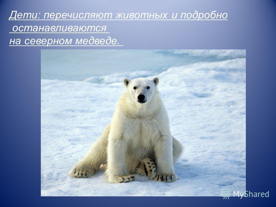 Дети: перечисляют животных и подробно останавливаются на северном медведе.