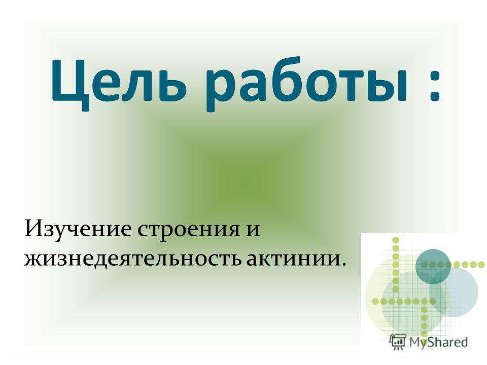 Цель работы : Изучение строения и жизнедеятельность актинии.