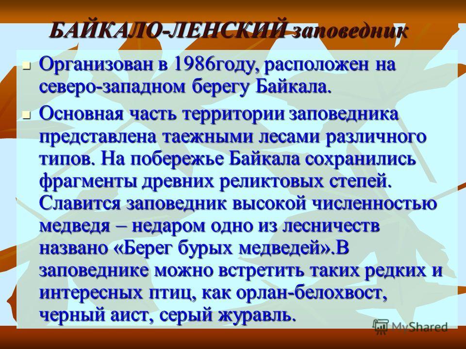 БАЙКАЛО-ЛЕНСКИЙ заповедник Организован в 1986году, расположен на северо-западном берегу Байкала. Организован в 1986году, расположен на северо-западном берегу Байкала. Основная часть территории заповедника представлена таежными лесами различного типов