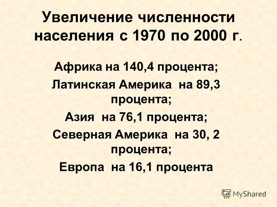 Увеличение численности населения с 1970 по 2000 г. Африка на 140,4 процента; Латинская Америка на 89,3 процента; Азия на 76,1 процента; Северная Америка на 30, 2 процента; Европа на 16,1 процента