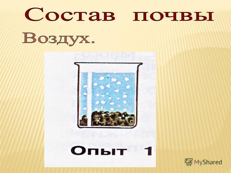 Опыт 1 Возьмите стакан с водой и бросьте туда комочек почвы. Что вы увидите? Какой вывод можно сделать? Опыт 2 Возьмите промокательную бумагу и насыпьте на нее немного почвы. Прижмите ее плотно к бумаге. Стряхните почву в стакан с водой. Что вы увиди