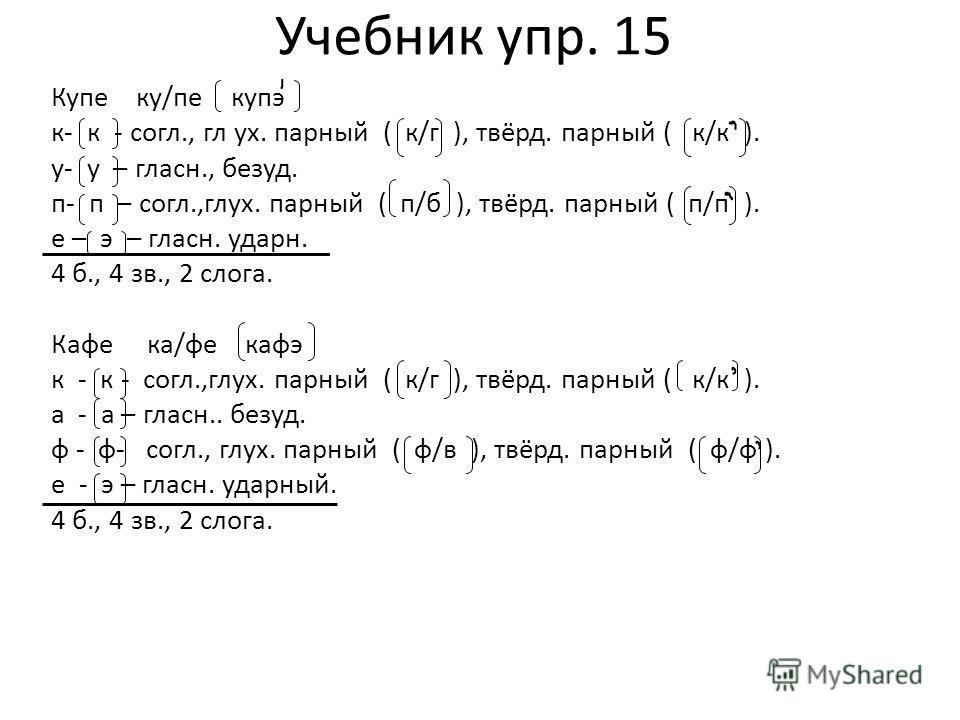 Учебник упр. 15 Купе ку/пе купэ к- к - согл., гл ух. парный ( к/г ), твёрд. парный ( к/к ). у- у – гласн., безуд. п- п – согл.,глух. парный ( п/б ), твёрд. парный ( п/п ). е – э – гласн. ударн. 4 б., 4 зв., 2 слога. Кафе ка/фе кафэ к - к - согл.,глух