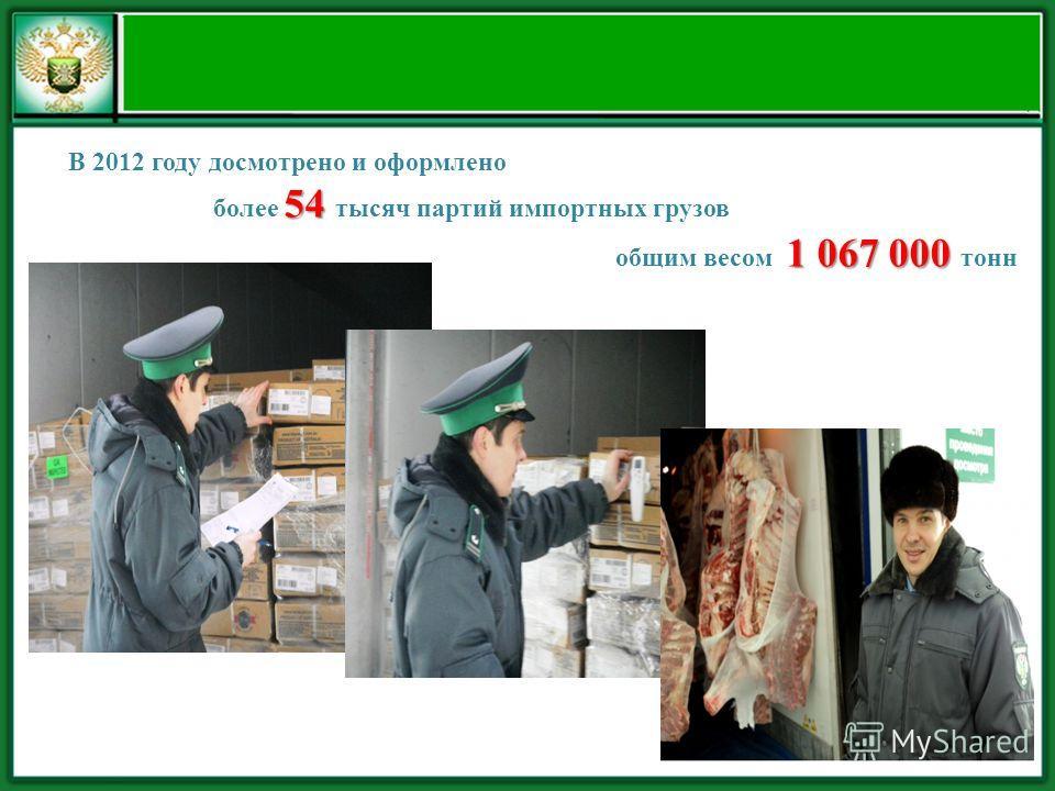 В 2012 году досмотрено и оформлено 54 более 54 тысяч партий импортных грузов 1 067 000 общим весом 1 067 000 тонн