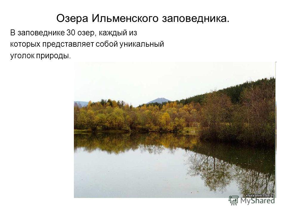 Озера Ильменского заповедника. В заповеднике 30 озер, каждый из которых представляет собой уникальный уголок природы.