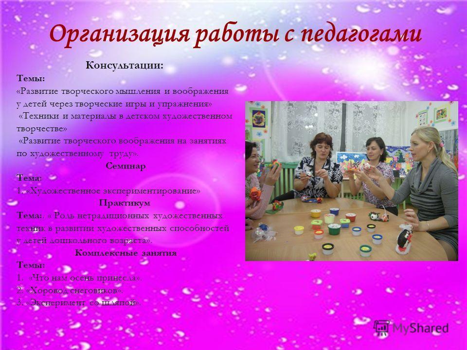 Организация работы с педагогами Консультации: Темы: «Развитие творческого мышления и воображения у детей через творческие игры и упражнения» «Техники и материалы в детском художественном творчестве» «Развитие творческого воображения на занятиях по ху