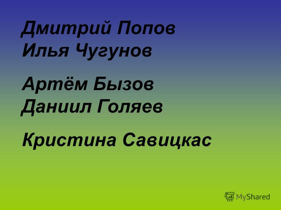 Дмитрий Попов Илья Чугунов Артём Бызов Даниил Голяев Кристина Савицкас