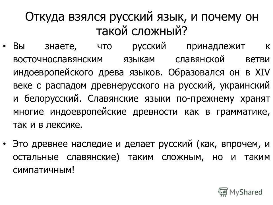 Откуда взялся русский язык, и почему он такой сложный? Вы знаете, что русский принадлежит к восточнославянским языкам славянской ветви индоевропейского древа языков. Образовался он в XIV веке с распадом древнерусского на русский, украинский и белорус