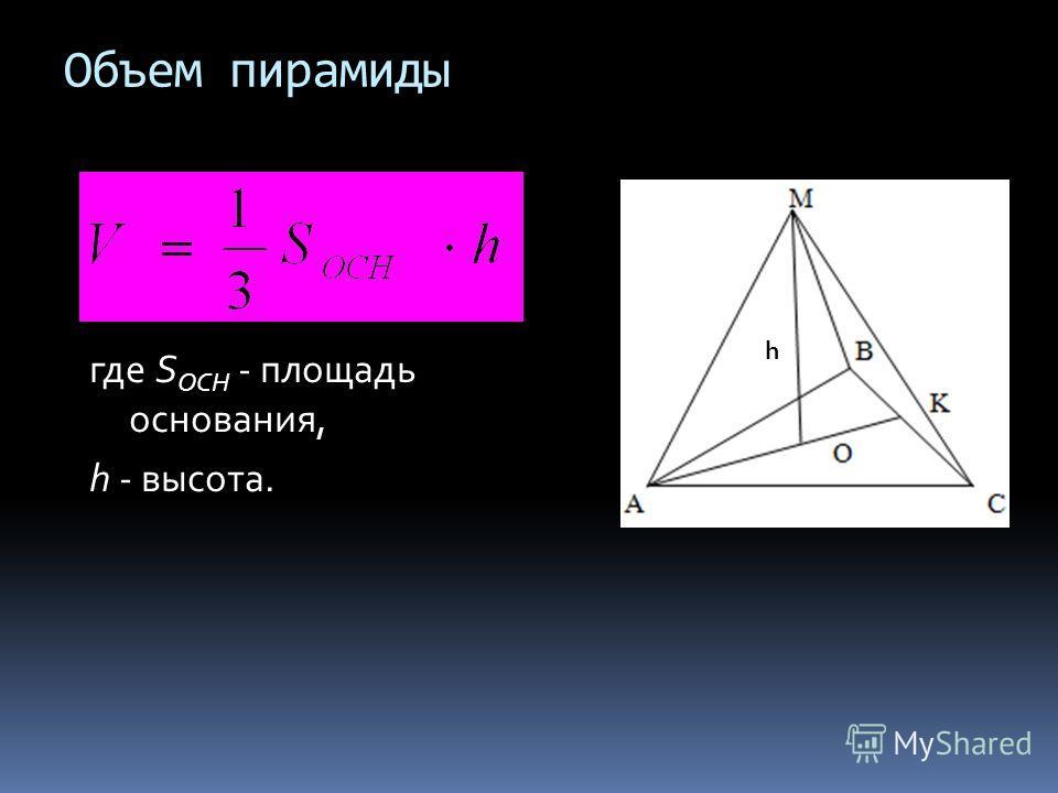 Объем пирамиды где S ОСН - площадь основания, h - высота. h