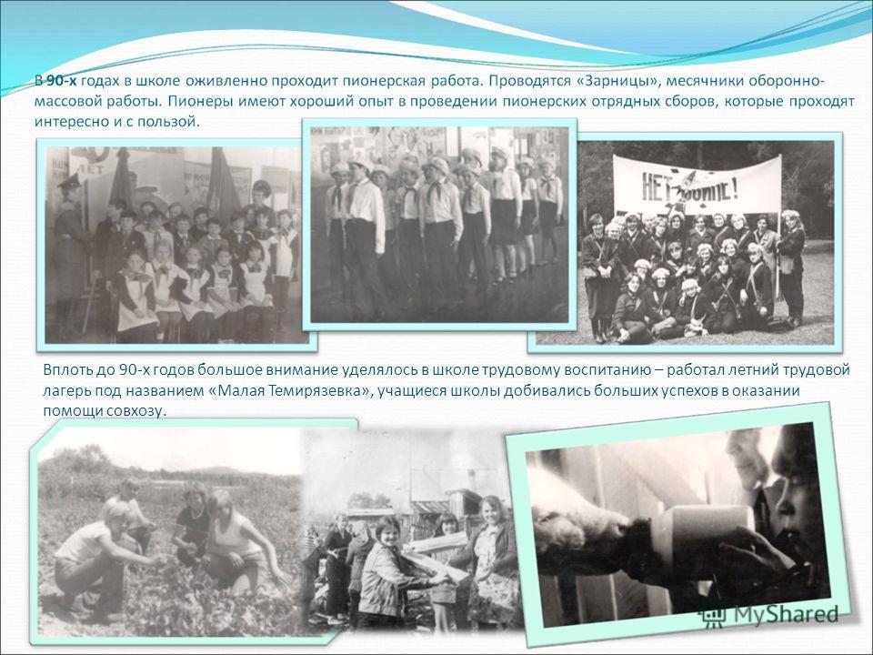 Вплоть до 90-х годов большое внимание уделялось в школе трудовому воспитанию – работал летний трудовой лагерь под названием «Малая Темирязевка», учащиеся школы добивались больших успехов в оказании помощи совхозу.