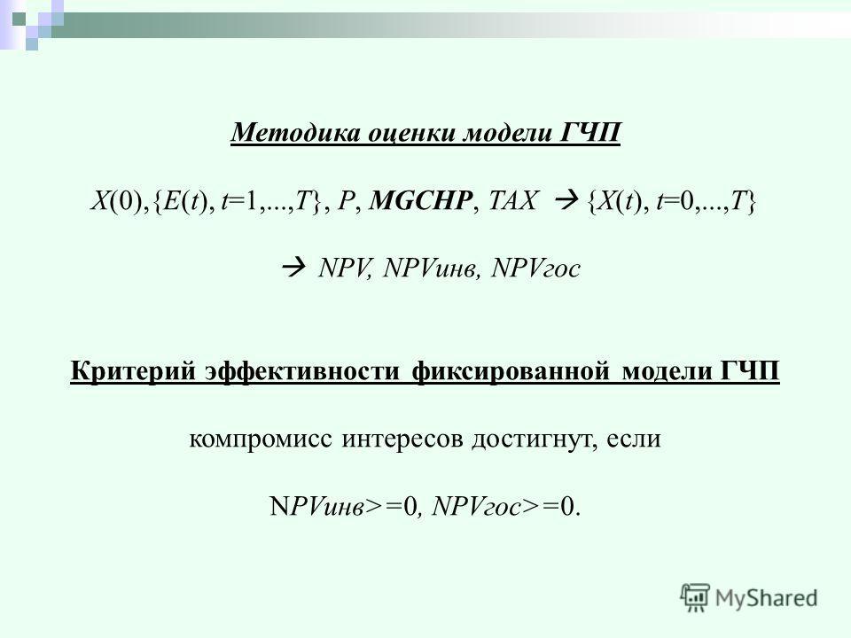 Методика оценки модели ГЧП X(0),{E(t), t=1,...,T}, P, MGCHP, TAX {X(t), t=0,...,T} NPV, NPVинв, NPVгос Критерий эффективности фиксированной модели ГЧП компромисс интересов достигнут, если NPVинв>=0, NPVгос>=0.