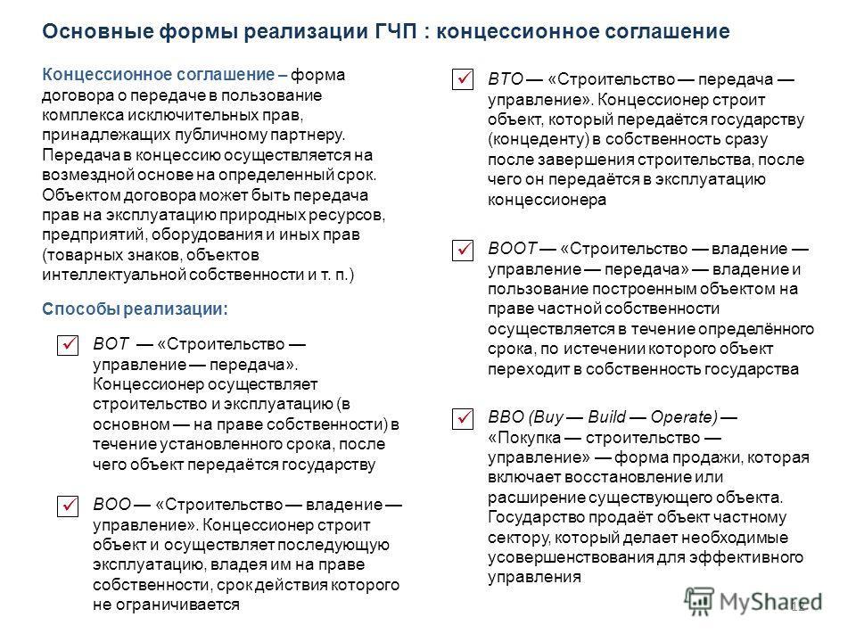 12 Основные формы реализации ГЧП : концессионное соглашение Концессионное соглашение – форма договора о передаче в пользование комплекса исключительных прав, принадлежащих публичному партнеру. Передача в концессию осуществляется на возмездной основе