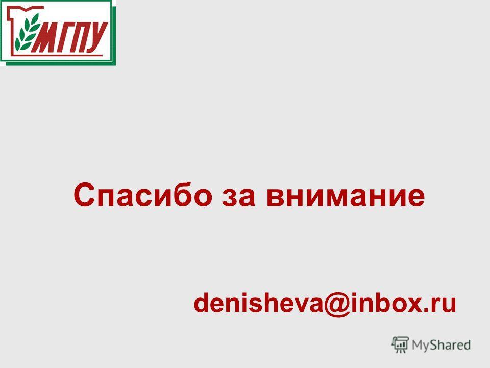 Спасибо за внимание denisheva@inbox.ru