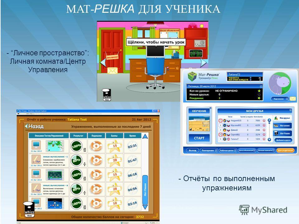 - Личное пространство: Личная комната/Центр Управления - Отчёты по выполненным упражнениям