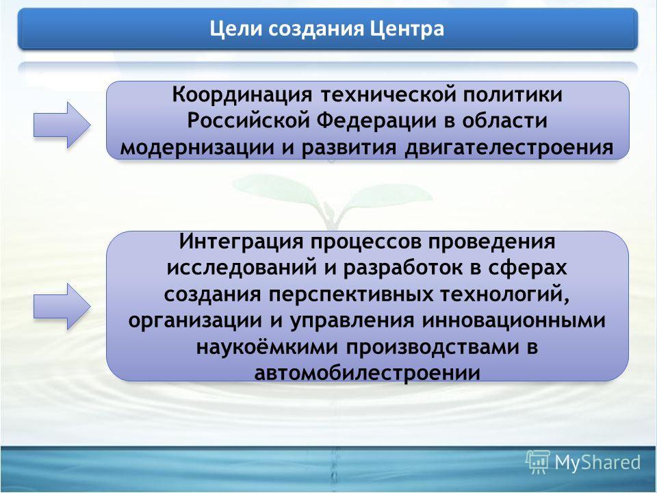 Координация технической политики Российской Федерации в области модернизации и развития двигателестроения Интеграция процессов проведения исследований и разработок в сферах создания перспективных технологий, организации и управления инновационными на