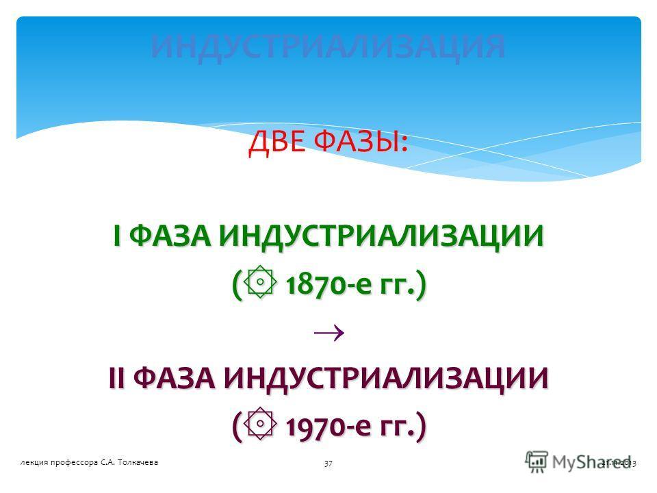 ДВЕ ФАЗЫ: I ФАЗА ИНДУСТРИАЛИЗАЦИИ ( ۞ 1870-е гг.) II ФАЗА ИНДУСТРИАЛИЗАЦИИ ( ۞ 1970-е гг.) ИНДУСТРИАЛИЗАЦИЯ 21.11.201337лекция профессора С.А. Толкачева