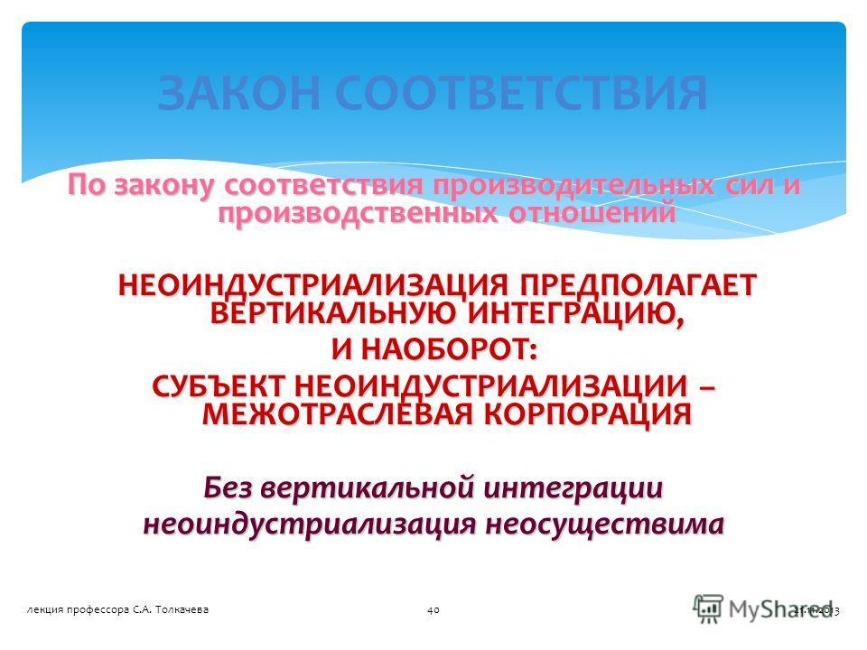 По закону соответствия производительных сил и производственных отношений НЕОИНДУСТРИАЛИЗАЦИЯ ПРЕДПОЛАГАЕТ ВЕРТИКАЛЬНУЮ ИНТЕГРАЦИЮ, НЕОИНДУСТРИАЛИЗАЦИЯ ПРЕДПОЛАГАЕТ ВЕРТИКАЛЬНУЮ ИНТЕГРАЦИЮ, И НАОБОРОТ: СУБЪЕКТ НЕОИНДУСТРИАЛИЗАЦИИ – МЕЖОТРАСЛЕВАЯ КОРПО