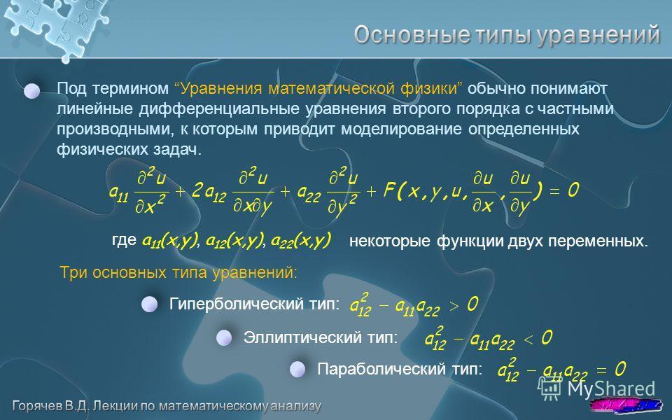 Под термином Уравнения математической физики обычно понимают линейные дифференциальные уравнения второго порядка с частными производными, к которым приводит моделирование определенных физических задач. Три основных типа уравнений: Гиперболический тип