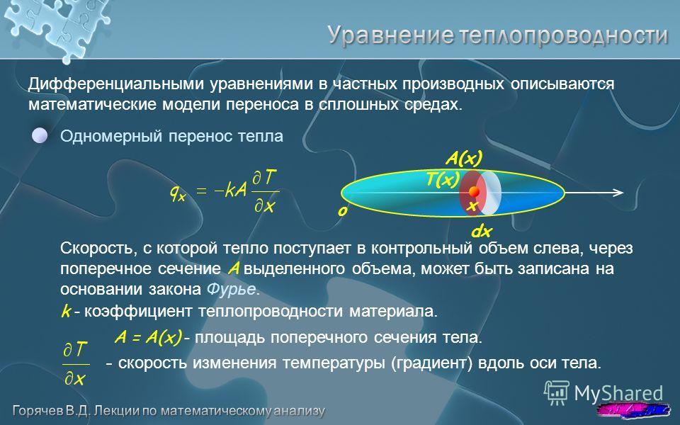 Дифференциальными уравнениями в частных производных описываются математические модели переноса в сплошных средах. o Одномерный перенос тепла A(x) dx x Скорость, с которой тепло поступает в контрольный объем слева, через поперечное сечение A выделенно