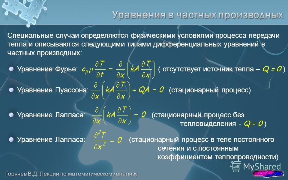 Специальные случаи определяются физическими условиями процесса передачи тепла и описываются следующими типами дифференциальных уравнений в частных производных: Уравнение Фурье: ( отсутствует источник тепла – Q = 0 ) Уравнение Пуассона:(стационарный п