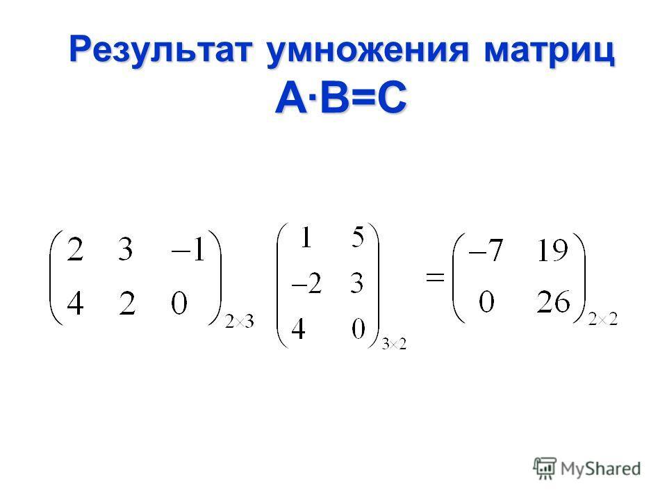 Результат умножения матриц А·В=С