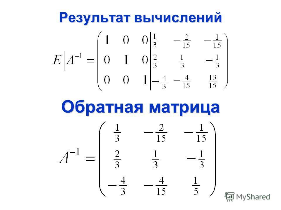 Обратная матрица Результат вычислений