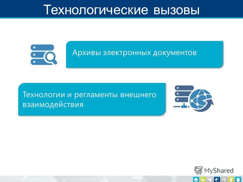 Технологические вызовы Архивы электронных документов Технологии и регламенты внешнего взаимодействия