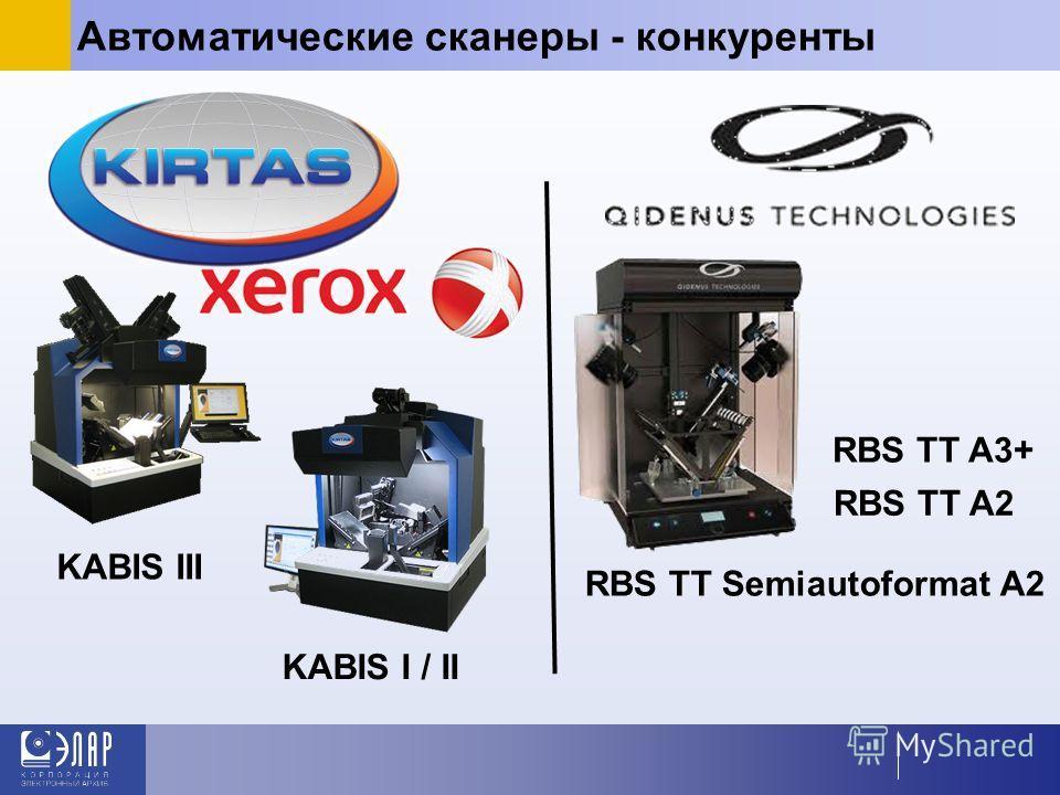 Автоматические сканеры - конкуренты KABIS III KABIS I / II RBS TT A3+ RBS TT A2 RBS TT Semiautoformat A2