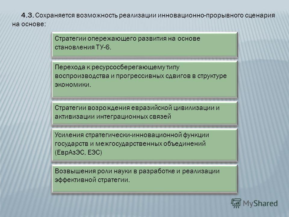 4.3. Сохраняется возможность реализации инновационно-прорывного сценария на основе: Стратегии опережающего развития на основе становления ТУ-6. Перехода к ресурсосберегающему типу воспроизводства и прогрессивных сдвигов в структуре экономики. Стратег