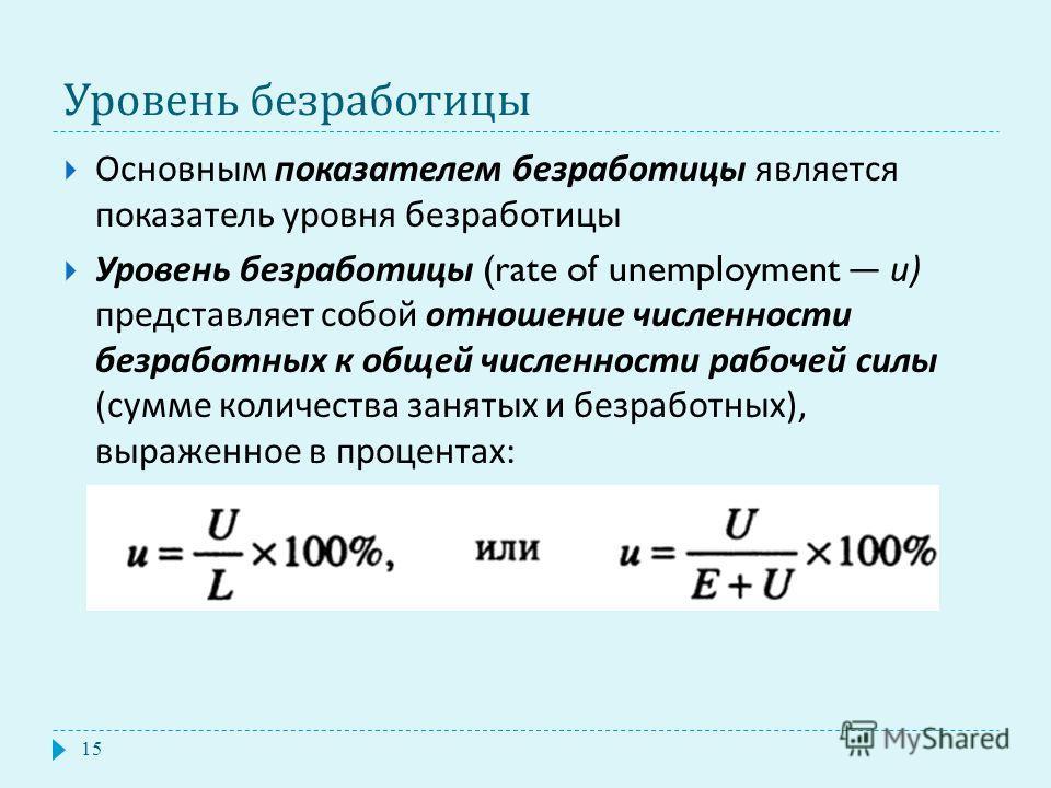 Уровень безработицы Основным показателем безработицы является показатель уровня безработицы Уровень безработицы (rate of unemployment и ) представляет собой отношение численности безработных к общей численности рабочей силы ( сумме количества занятых
