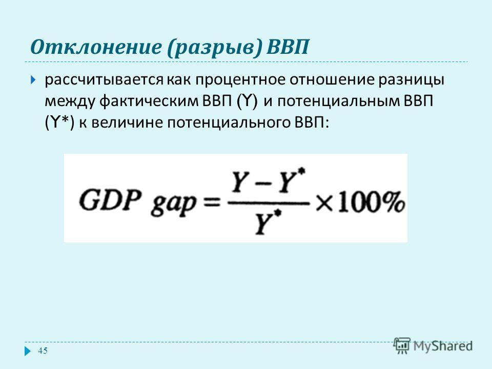 Отклонение ( разрыв ) ВВП рассчитывается как процентное отношение разницы между фактическим ВВП (Y) и потенциальным ВВП (Y*) к величине потенциального ВВП : 45