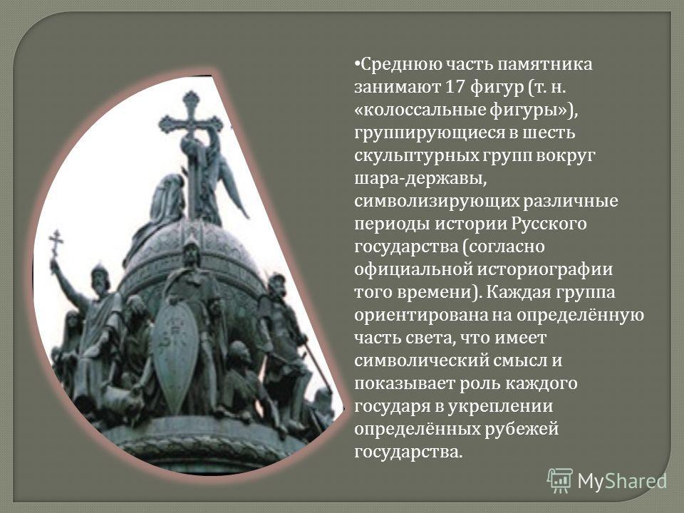 Среднюю часть памятника занимают 17 фигур ( т. н. « колоссальные фигуры »), группирующиеся в шесть скульптурных групп вокруг шара - державы, символизирующих различные периоды истории Русского государства ( согласно официальной историографии того врем