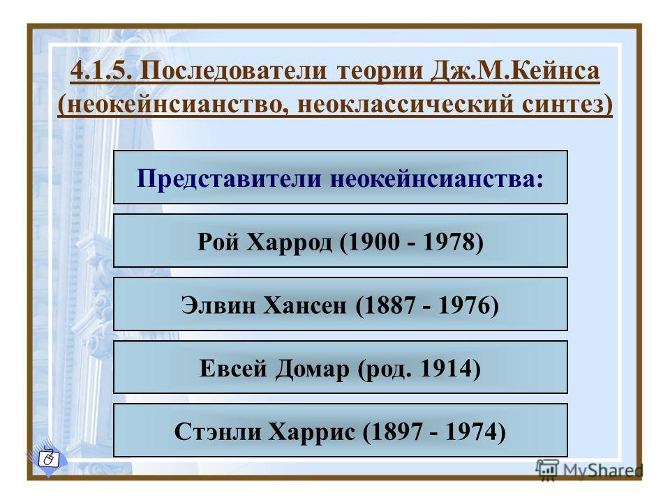 4.1.5. Последователи теории Дж.М.Кейнса (неокейнсианство, неоклассический синтез) Представители неокейнсианства: Рой Харрод (1900 - 1978) Элвин Хансен (1887 - 1976) Евсей Домар (род. 1914) Стэнли Харрис (1897 - 1974)