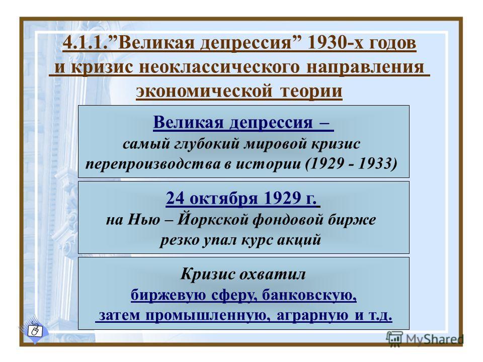 4.1.1.Великая депрессия 1930-х годов и кризис неоклассического направления экономической теории Великая депрессия – самый глубокий мировой кризис перепроизводства в истории (1929 - 1933) 24 октября 1929 г. на Нью – Йоркской фондовой бирже резко упал