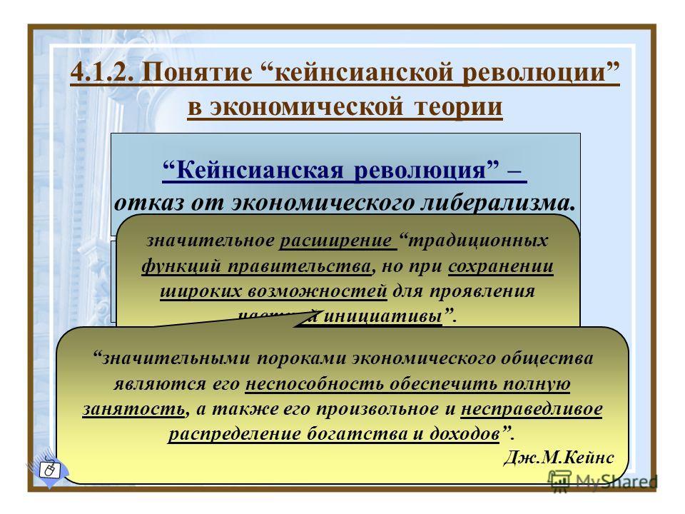 4.1.2. Понятие кейнсианской революции в экономической теории Кейнсианская революция – отказ от экономического либерализма. Капиталистическая система не способна к саморегуляции. Необходимо вмешательство государства в экономическую жизнь общества. зна