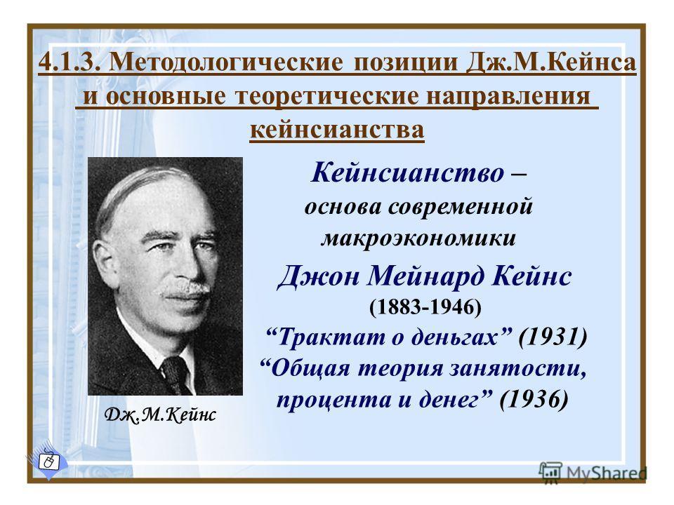 Джон Мейнард Кейнс (1883-1946) Трактат о деньгах (1931) Общая теория занятости, процента и денег (1936) Кейнсианство – основа современной макроэкономики Дж.М.Кейнс 4.1.3. Методологические позиции Дж.М.Кейнса и основные теоретические направления кейнс