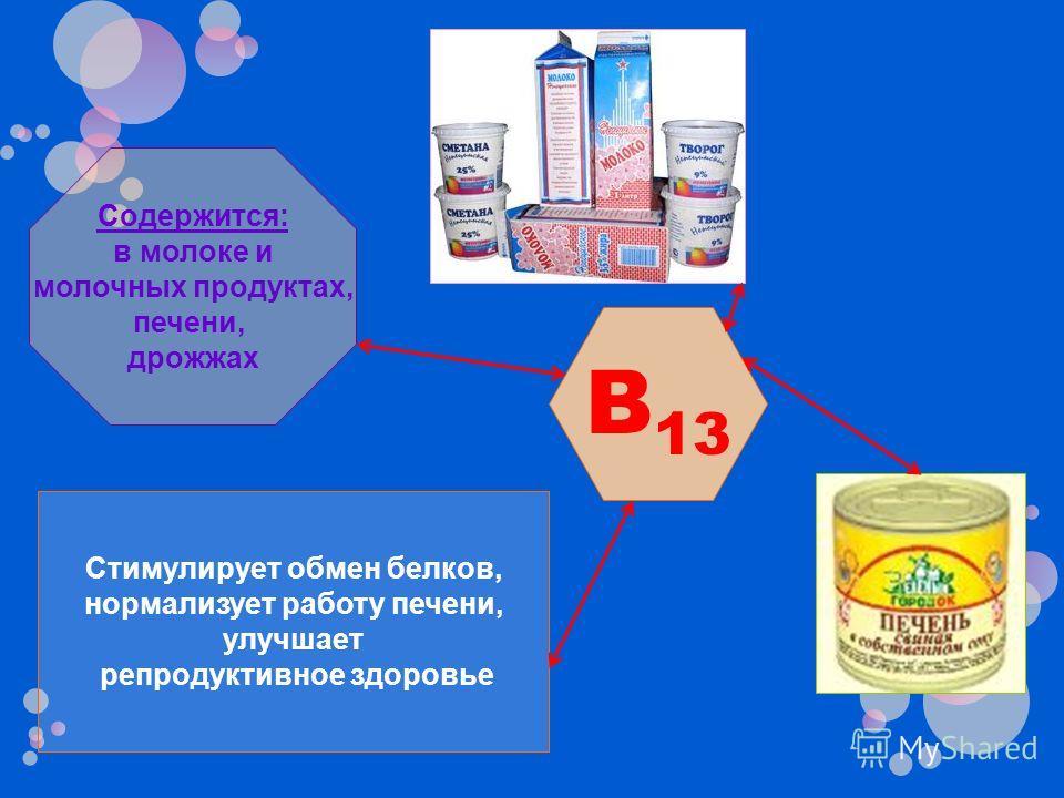 B 13 Стимулирует обмен белков, нормализует работу печени, улучшает репродуктивное здоровье Содержится: в молоке и молочных продуктах, печени, дрожжах